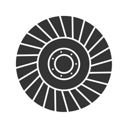 Abrasive flap wheel glyph icon. Silhouette symbol. Negative space. Vector isolated illustration Illustration