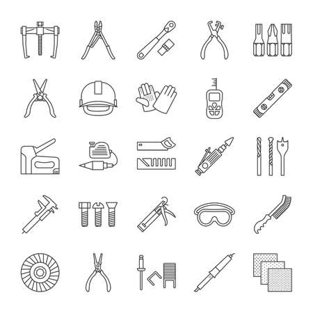 Construction tools linear icons set. Renovation and repair instruments. Thin line contour symbols. Emery paper, solderer, ratchet, bearing puller, spirit level. Isolated vector outline illustrations Illusztráció
