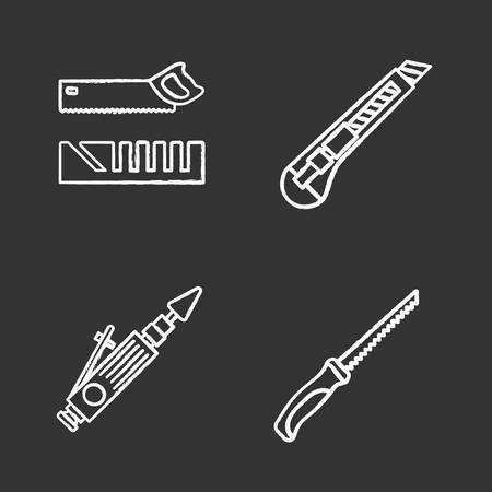 Construction tools chalk icons set. Mitre box, handle pad saw, stationery knife, air-operated valve grinder. Isolated vector chalkboard illustrations Illustration