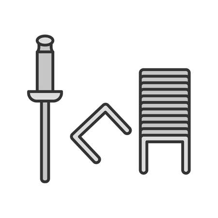 Stapler pins color icon. Staples. Isolated vector illustration Illustration