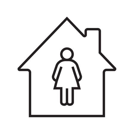 Resident, tenant, owner linear icon. Thin line illustration. House with woman silhouette inside. Contour symbol. Vector isolated outline drawing Vector Illustration