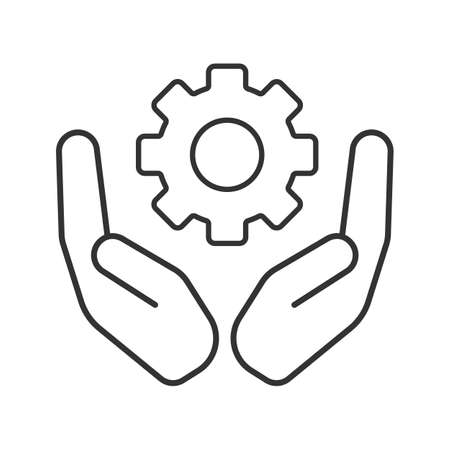 Open palms with cogwheel linear icon. Technology progress. Thin line illustration. Devices and machines care. Contour symbol. Vector isolated outline drawing Illustration
