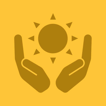 Open palms with sun glyph color icon. Using solar energy. Silhouette symbol. Nature care. Negative space. Vector isolated illustration
