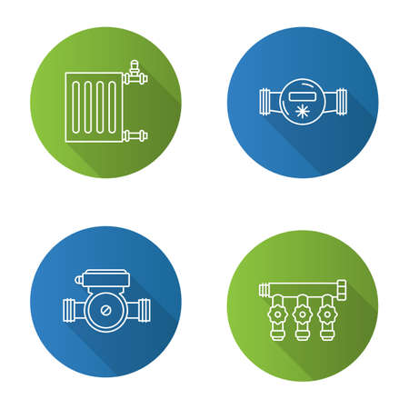 Plumbing flat linear long shadow icons set. Radiator, water meter and pump, manifold tap. Vector outline illustration