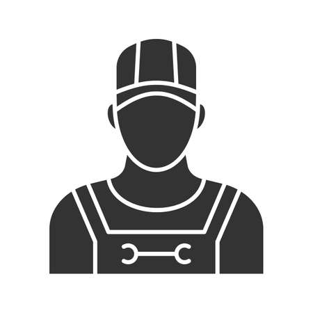 Plumber glyph icon. Silhouette symbol. Sanitary technician. Negative space. Vector isolated illustration Illustration