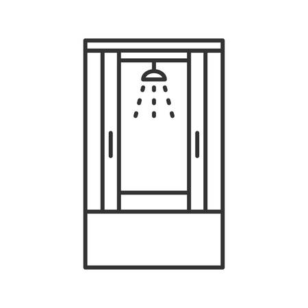 Shower cabin linear icon. Thin line illustration. Shower stall, cubicle. Contour symbol. Vector isolated outline drawing Illustration