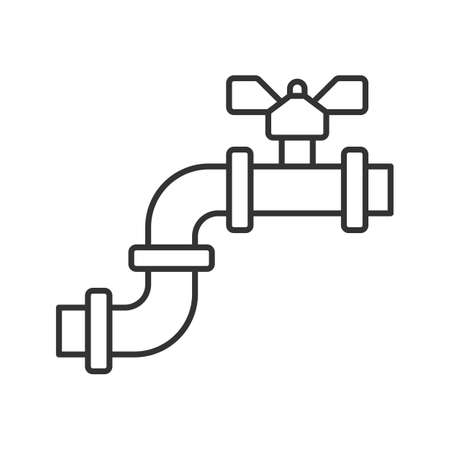 Pipe with valve linear icon. Thin line illustration. Water pipe. Contour symbol. Water tap. Vector isolated outline drawing Illustration