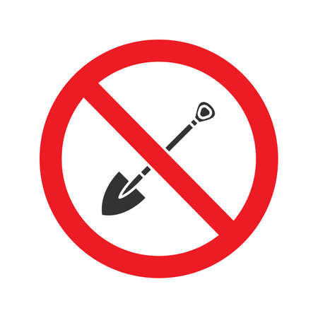 Forbidden sign with shovel glyph icon. Stop silhouette symbol. No digging prohibition. Negative space. Vector isolated illustration