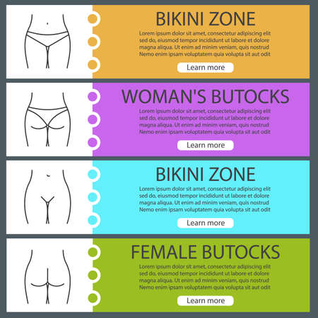 Female body parts web banner templates set. Woman's buttocks and bikini zone. Website color menu items with linear icons. Vector headers design concepts Ilustração