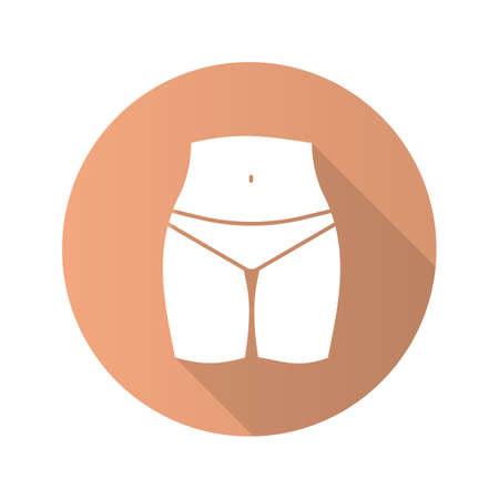 Bikini zone flat design long shadow glyph icon. Vector silhouette illustration