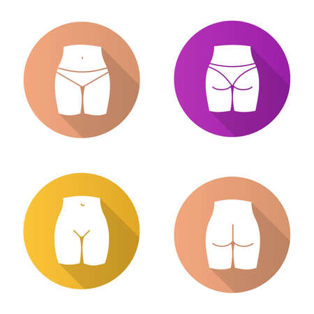 Female body parts flat design long shadow glyph icons set. Woman's buttocks and bikini zone. Vector silhouette illustration