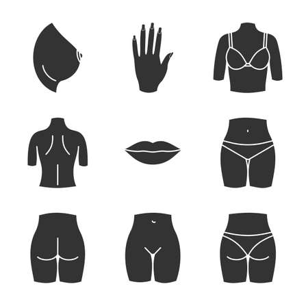 Female body parts glyph icons set. Woman's hand, breast, lips, back, buttocks, bikini zone. Silhouette symbols. Vector isolated illustration