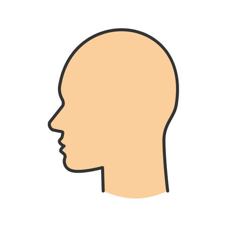 Humans head color icon. Mans face side view. Isolated vector illustration