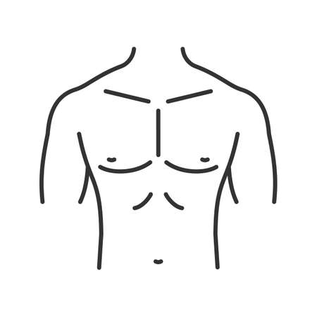 Muscular male chest linear icon thin line illustration. Contour symbol vector isolated outline drawing.