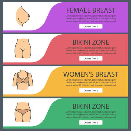 Zestaw szablonów banerów internetowych części kobiecego ciała. Biust, strefa bikini. Pozycje menu w kolorze na stronie internetowej. Koncepcje projektowania nagłówków wektorowych