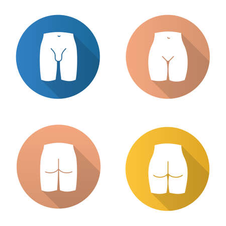 Body parts flat design long shadow glyph icons set. Bikini zone, male groin, man and woman buttocks vector silhouette illustration.