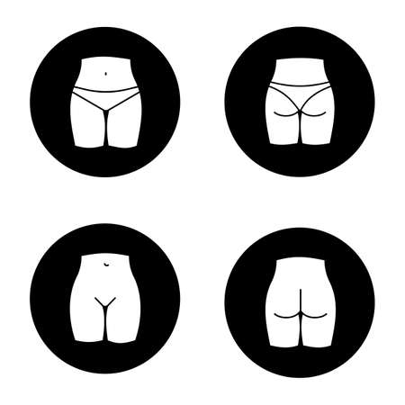 Female body parts glyph icons set. Woman's buttocks and bikini zone. Vector white silhouettes illustrations in black circles