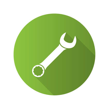 Wrench flat design long shadow glyph icon. Spanner. Vector silhouette illustration Illustration