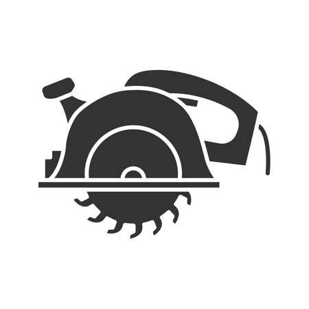 Cirkelzaag glyph pictogram silhouet symbool. Schijf zag negatieve ruimtevector geïsoleerde illustratie.
