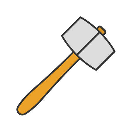 Lump hammer color icon. Maul. Isolated vector illustration