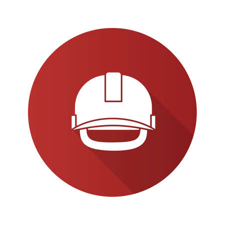Industrial safety helmet flat design long shadow glyph icon. Hard hat. Vector silhouette illustration