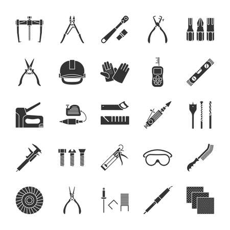 Construction tools glyph icons set. Renovation and repair instruments. Emery paper, solderer, ratchet, bearing puller, spirit level. Silhouette symbols. Vector isolated illustration