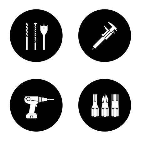 Construction tools glyph icons set. Screwdriver bits, slide gauge, power drill. Vector white silhouettes illustrations in black circles Illustration