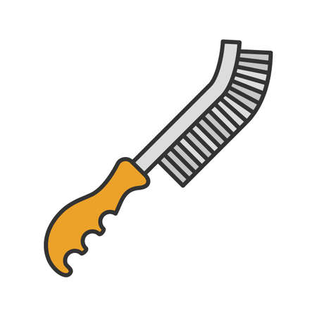 Wire brush color icon isolated vector illustration.