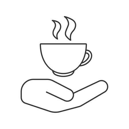 Open hand with hot drink cup linear icon. Free teacup, coffee cup. Thin line illustration. Coffee house. Contour symbol. Vector isolated outline drawing