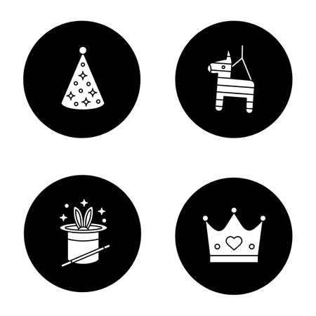 Children's party accessories glyph icons set. Birthday cap, pinata, rabbit in hat, magic wand, crown. Vector white silhouettes illustrations in black circles