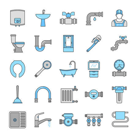 Plumbing color icons set. Sanitary equipment. Bathroom. Isolated vector illustrations