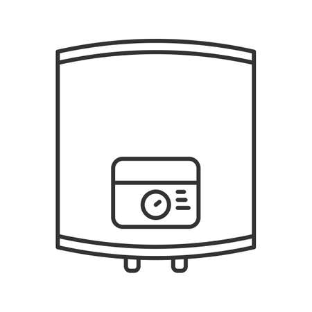 Home boiler linear icon. Heating water. Thin line illustration. Contour symbol. Vector isolated outline drawing Illustration