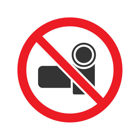 Forbidden sign with video camera glyph icon. Stop silhouette symbol. Videotaping prohibition. Negative space. Vector isolated illustration