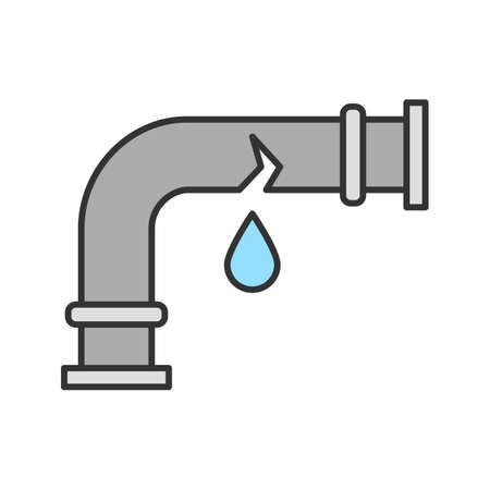 Broken water pipe color icon. Isolated vector illustration