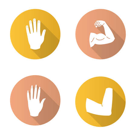 Body parts flat design long shadow glyph icons set. Male and female hands, muscular bicep, elbow joint. Vector silhouette illustration