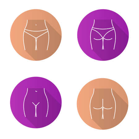 Female body parts flat linear long shadow icons set. Woman's buttocks and bikini zone. Vector outline illustration