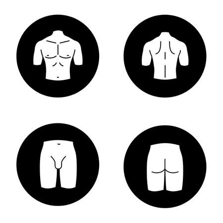 Male body parts glyph icons set. Muscular chest, back, groin, butt. Vector white silhouettes illustrations in black circles