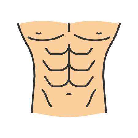 Muscular male torso color icon. Isolated vector illustration Illustration