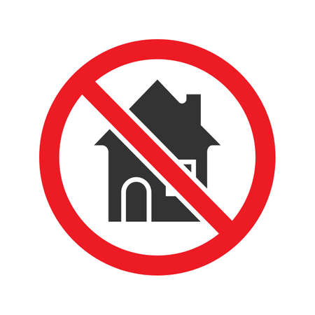 Forbidden sign with house glyph icon. Stop silhouette symbol. Building prohibition. Negative space. Vector isolated illustration Illustration