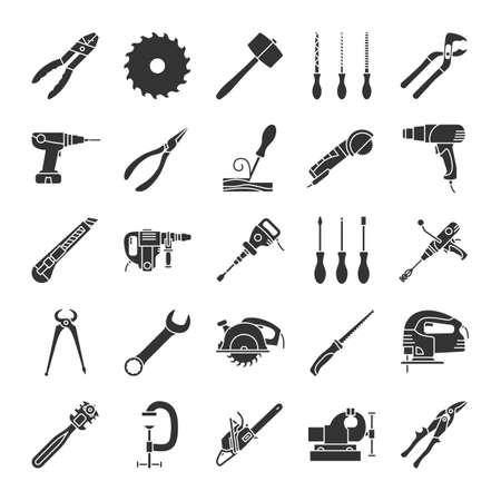 Jeu d'icônes de glyphe outils de construction. Instruments de rénovation et de réparation. Symboles de la silhouette. Coupe-verre, pinces universelles, pistolet thermique, ciseau à bois. Illustration vectorielle isolé