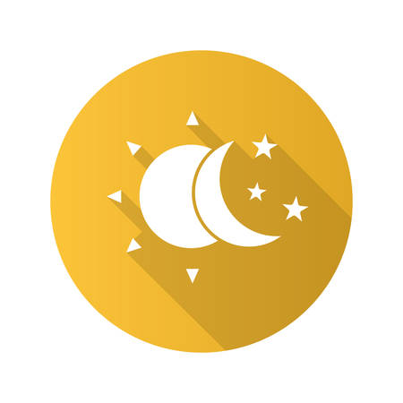 Sun and moon with stars flat design long shadow glyph icon. Silhouette symbol. Day and night. Vector silhouette illustration Illustration