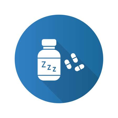 Sleeping pills flat design long shadow glyph icon. Soporific. Vector silhouette illustration Illustration