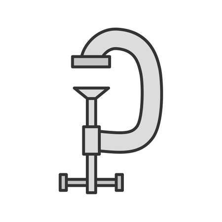 Screw clamp color icon. G-clamp. Isolated vector illustration