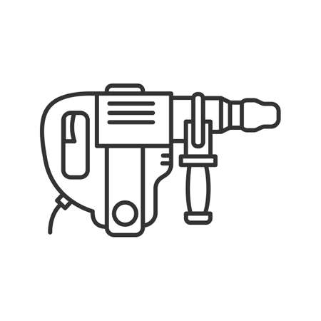 Perforator linear icon. Thin line illustration. Power drill. Contour symbol. Vector isolated outline drawing Illustration