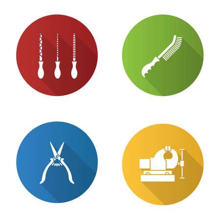 Ícones lisos do glyph da sombra do projeto liso das ferramentas da construção ajustados. Arquivos de metal, escova de arame, torno de bancada, tesoura de construção. Vetorial, silueta, ilustração