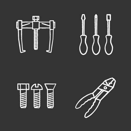 Construction tools chalk icons set. Bearing puller, set of screwdrivers, metal bolts, combination pliers. Isolated vector chalkboard illustrations Illusztráció