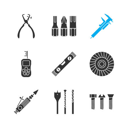 Construction tools glyph icons set. Screwdriver bits, slide gauge, vernier caliper, digital tape measure, spirit level, abrasive flap wheel. Silhouette symbols. Vector isolated illustration Vettoriali