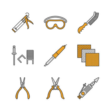 Construction tools color icons set. Caulking gun, goggles, wire brush, stapler pins, emery paper, construction scissors, air-operated valve grinder. Isolated vector illustrations