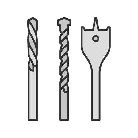Icono de color de brocas. Ilustración vectorial aislado