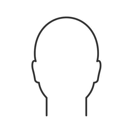 Human head linear icon. Man's face frontal view. Thin line illustration. Profile. Contour symbol. Vector isolated outline drawing